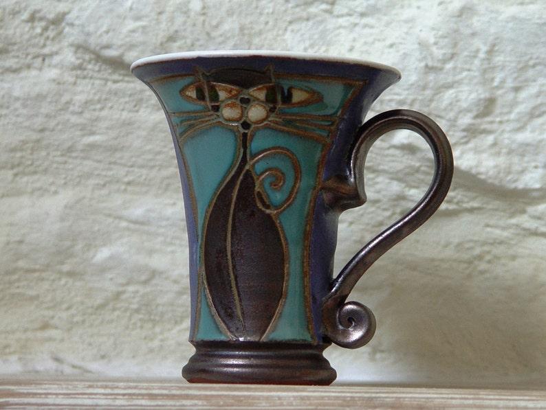 Handmade Pottery Coffee Mug  Cat Mug  Ceramic Mug  Unique image 0