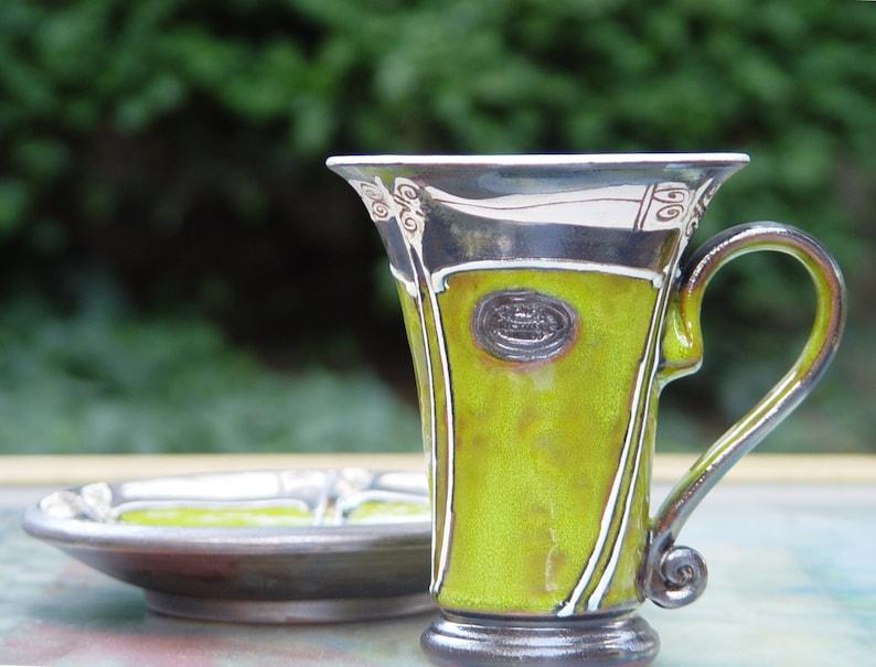 Green Handmade Pottery  Mug Ceramic Coffee Cup Clay Mug image 0