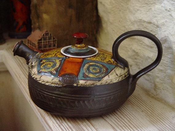 Colorful Pottery Teapot with Matte Finish - Fine Art Tea Pot - Tea Ware - Table Decor - Tea Lovers' Gift -  Ceramic Teapot - Danko Pottery