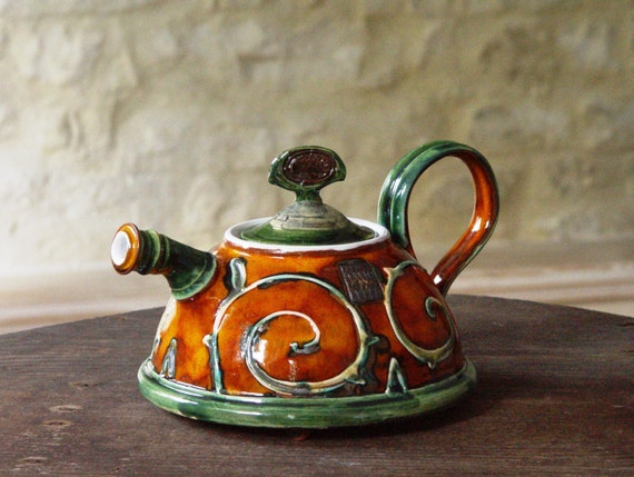 Handmade Ceramic Teapot. Pottery Coffee Pot. Wedding Gift, Tea Pot, Wheel Thrown Tea Kettle, Orange Teapot, Ceramic Art, Danko Pottery