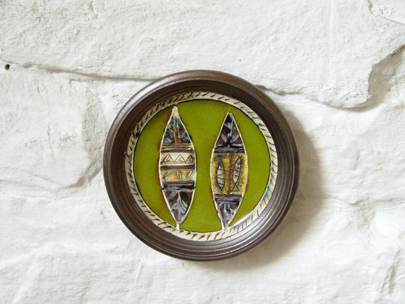 Small Pottery Plate, Fireplace Decor, Green Ceramic Plate with Hand Painted Decoration, Decorative Ceramic Dish, Handmade Pottery, Danko