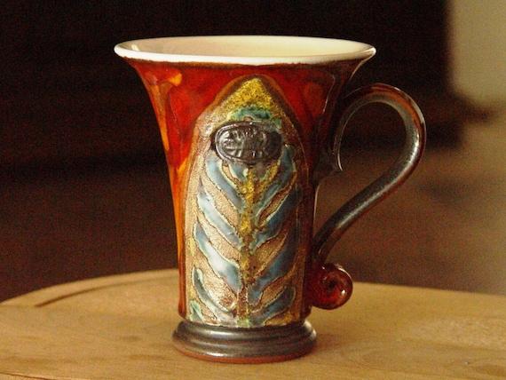 Pottery Tea Cup - Coffee Mug - Christmas Mug - Handmade Ceramic Mug - Clay Coffee Cup - Unique Pottery Cup, Wheel Thrown Pottery, Danko
