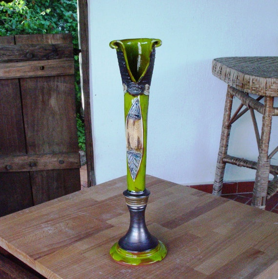 Handmade Pottery Vase, Green Ceramic Flower Vase, Slim Vase, Home Decor, Ceramics and Pottery, Art Pottery, Danko Pottery