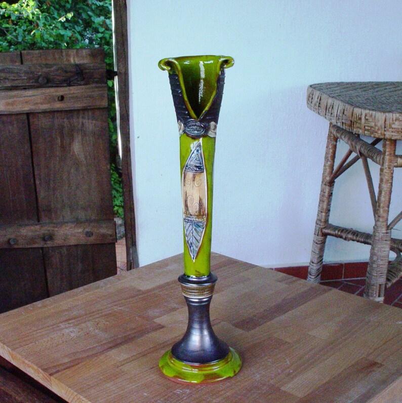 Handmade Pottery Vase Green Ceramic Flower Vase Slim Vase image 0