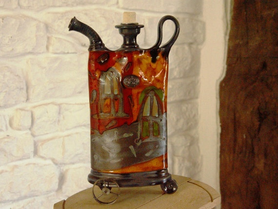 Colorful Pottery Decor, Ceramic Teapot with Iron Elements, Rustic Home Decor, Kitchen Decor, Handmade Pottery, Danko Pottery