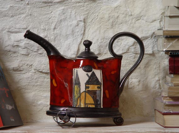 Decorative Teapot Ceramic Vessel with Iron Elements, Pottery  Pitcher, Wedding Gift, Home Decor, Ceramic Art, Anniversary Gift, DankoPottery