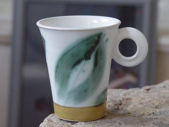Wheel Thrown Stoneware Pottery Mug, Coffee or Tea Mug with Delicately Painted Floral Elements, Unique Teacup, Durable Quality Ceramic Cup