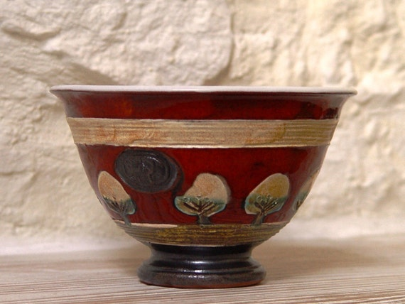 Ceramic Bowl, Red Wheel Thrown Pottery Bowl for Soup, Cereal, Salad, Ice Cream, Fruit, Candy, Nuts, Rice, Yogurt, Gravy, Sugar, etc.