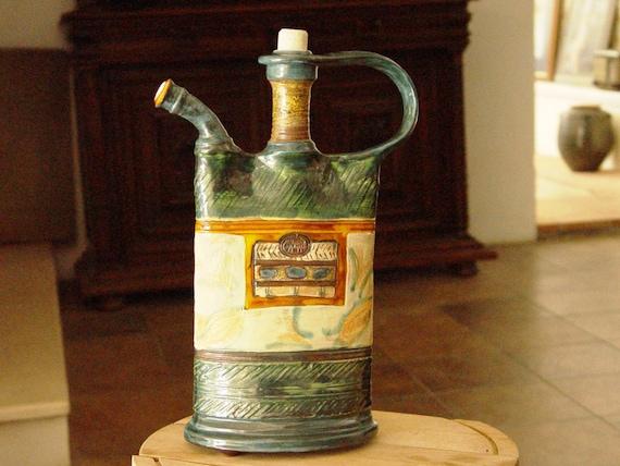 Green Pottery Pitcher, Handmade Pottery, Ceramic Teapot, Rustic Home Decor, Unique Kitchen Decor, Danko Pottery