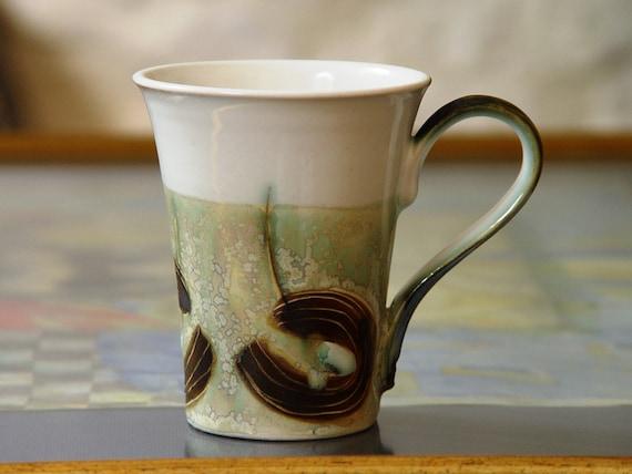 Elegant Stoneware Mug for Coffee or Tea, Handmade Ceramic Mug, Wheel Thrown Hand Painted Pottery Gift, Clay Art, Danko Pottery
