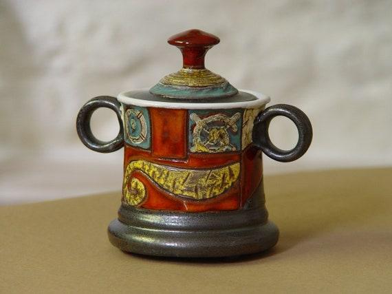 Colorful Handmade Sugar Bowl - Ceramics - Pottery Bowl with Lid - Sugar Box - Sugar Cellar - Clay Sugar Keeper - Unique Sugar Bowl - Danko