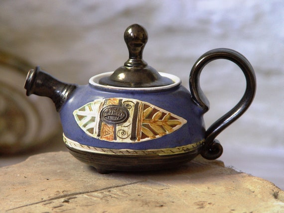 Blue Ceramic Teapot - Small Tea Pot - Handmade Pottery - Wheel Thrown Clay Art Pottery - Collectible Pottery - Ready to Ship