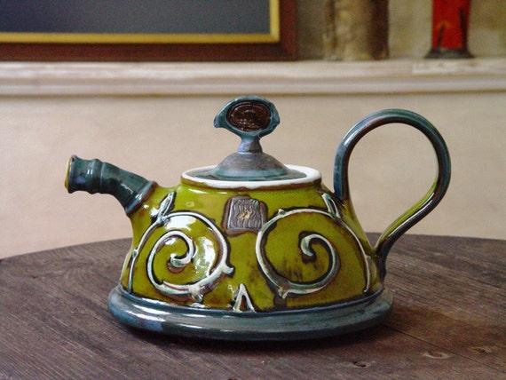 Green Ceramic Teapot - Handmade Pottery Tea Pot - Hand Painted Tea Kettle, Wheel Thrown Colorful Tea Serving Pot - Ceramic Art - Danko
