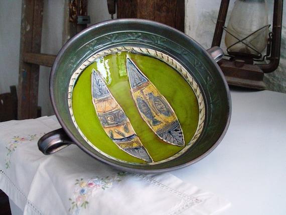 Pottery Fruit Bowl, Handmade Ceramic Bowl, Fruit Dish, Wheel Thrown Pottery Bowl, Fruit Plate, Wedding gift, Danko Pottery