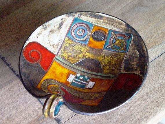 Handmade Pottery Fruit Bowl with Leg, Wedding gift, Ceramic Fruit bowl, Table Centerpiece, Wheel Thrown Ceramic Bowl