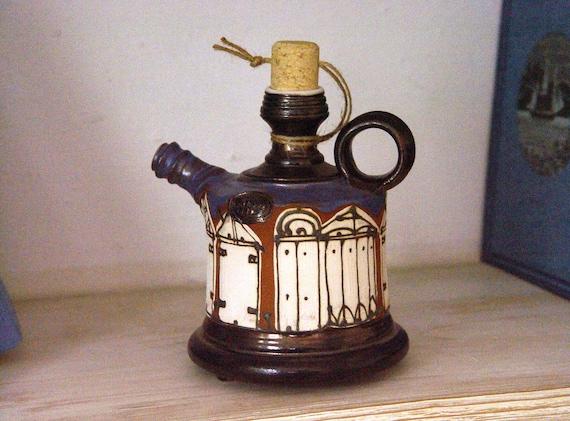 Small Earthen Pitcher - Blue and White Pottery Bottle - Handmade Ceramic Pot - Colorful Clay Jug - Ceramic Art - Kitchen Home Decor - Danko