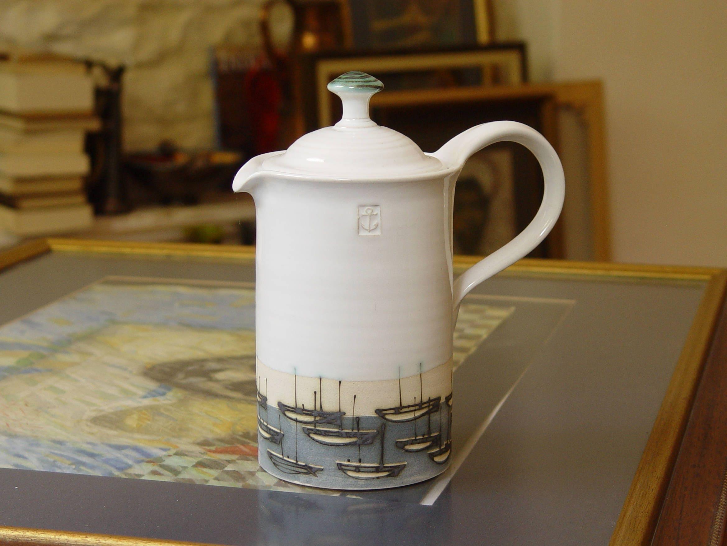 Handmade Ceramic Pottery Lidded Pitcher