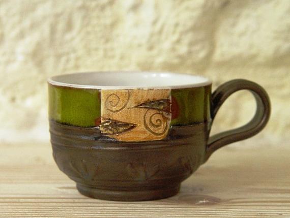 Ceramic Coffee Cup, Pottery Tea Cup, Small Clay Mug, Teacup, Unique Espresso Cup, Green Collector's Cup, Danko Pottery