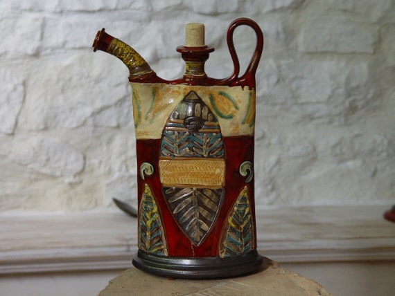 Colorful Pottery Decorative Pitcher, Handmade Ceramic Teapot, Home Decor, Unique Ceramic Gift, Danko Pottery, Clay Art
