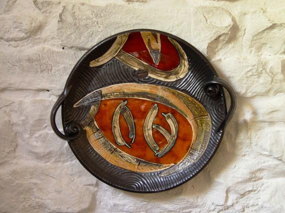 Handmade Orange Ceramic Tray, Pottery Serving Platter, Wall Hanging Decor, Wall Plate, Handmade Pottery, Ceramic Art, Artistic Pottery Danko
