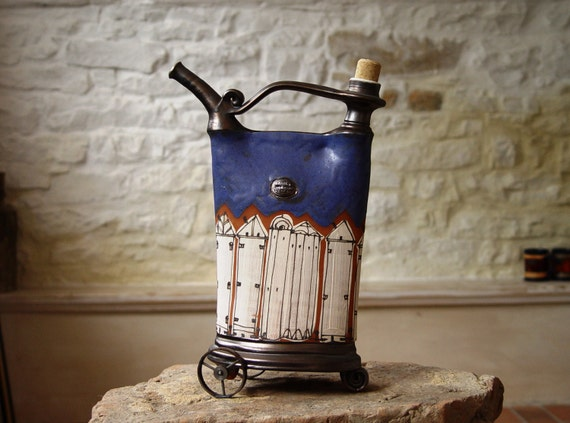Blue Decorative Pottery Teapot with Iron Elements, Unique Home Decor, Kitchen Decoration, Wheel Thrown Pottery Decor, Danko Pottery