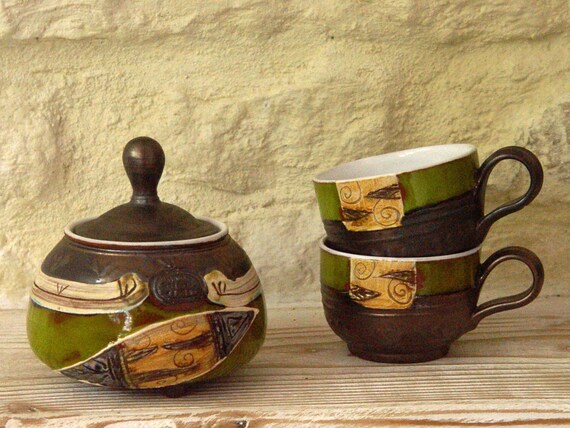 Ceramic set - Sugar Bowl and Cups, Pottery Set, Sugar Bowl, Pottery Cups, Green Pottery Set, Coffee Cups, Danko Pottery, Anniversary Gift