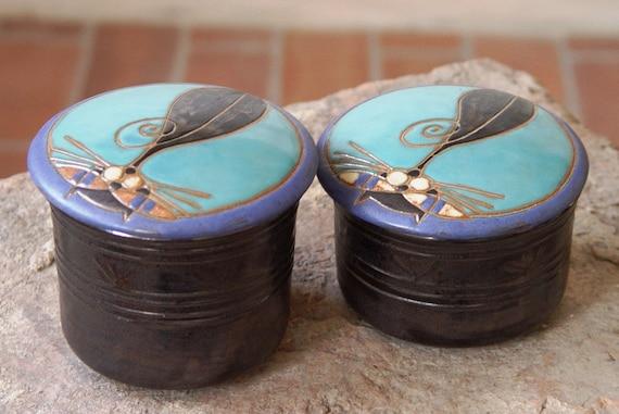 Ceramic Sugar Bowl with Lid - Pottery Sugar Storage Jar - Lidded Earthen Sugar Box - Kitchen Canister - Handmade Clay Jar - Cat Bowl - Danko