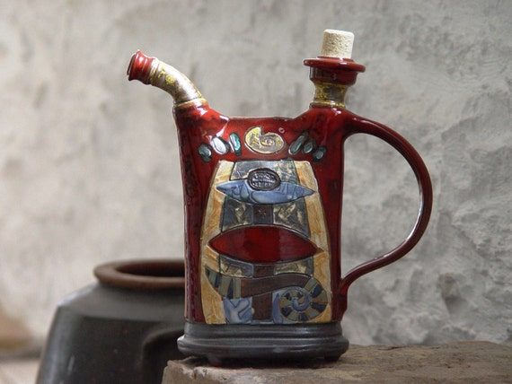 Unique Red Ceramic Pitcher with Hand Painted Abstract Decoration. Handmade Pottery Bottle, Wheel Thrown Pottery, Kitchen Decor, Danko
