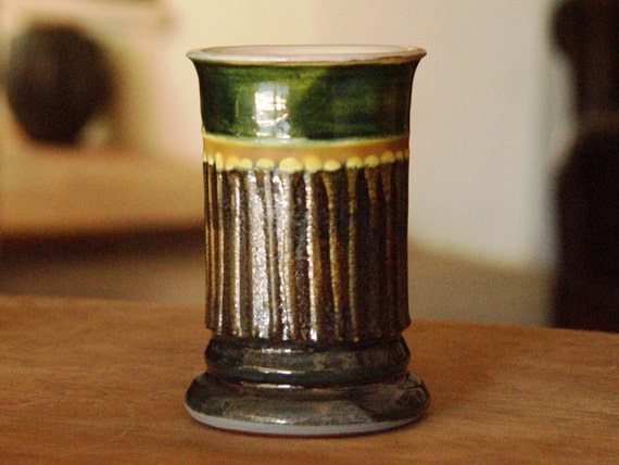 Small Pottery Mug - Ceramics and Pottery - Green Liquor Glass - Brandy Glass - Clay Tumbler - Handmade Pottery - Danko