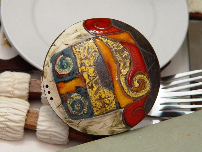 Handmade Ceramic Salt Shaker Multicolor Earthen Salt or image 0