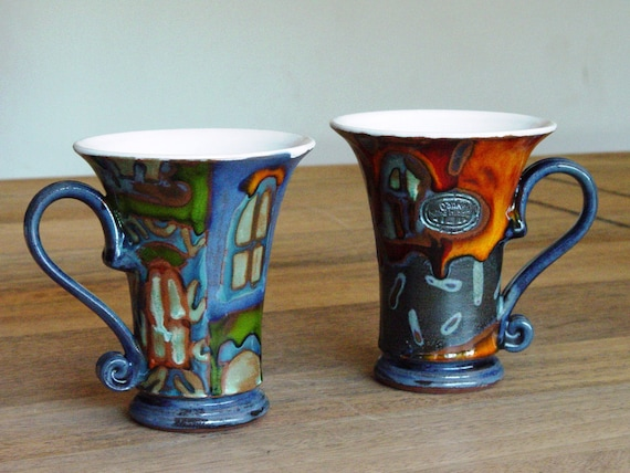Set of Two Coffee Mugs, Colorful Pottery Mugs with Unique Hand Painted Decoration, Ceramic Mugs, Tea Mugs, Unique Clay Mugs, Danko Pottery