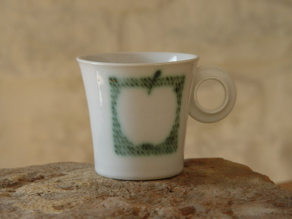 Handmade Stoneware Pottery Cup, Teacup with a Hand Painted Apple, White and Green Mug, Durable Quality Pottery, Ceramic Cup, Danko