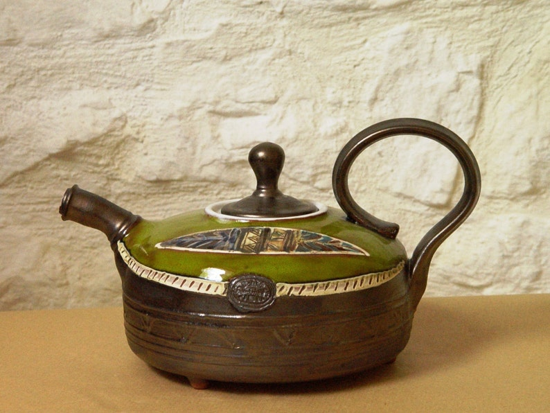 Teapot Handmade Pottery Teapot. Wheel thrown tea pot Green image 0