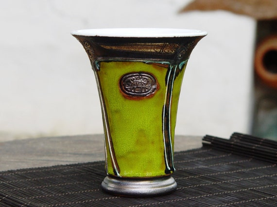 Ceramic Tumbler - Pottery Wine or Water Goblet - Clay Mug with Unique Decoration, Green Handpainted Mug, Wine Set