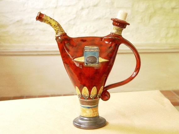 Unique Wheel Thrown Ceramic Vessel, Home Decor, Ceramic Decanter, Water pitcher, Pottery bottle, Ceramic art, Danko Pottery