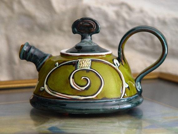 Handmade Ceramic Teapot, Small Pottery Tea or Coffee Pot, Green and Blue Ceramic Pot, Pottery Gift, Wheel Thrown Pottery, Danko Handmade