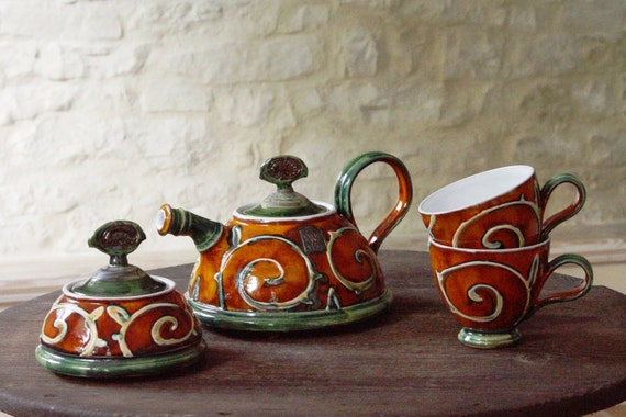 Handmade Pottery Tea or Coffee set with Orange Hand Painted Decoration and Floral Elements, Pottery Gift Set, Ceramics and Pottery