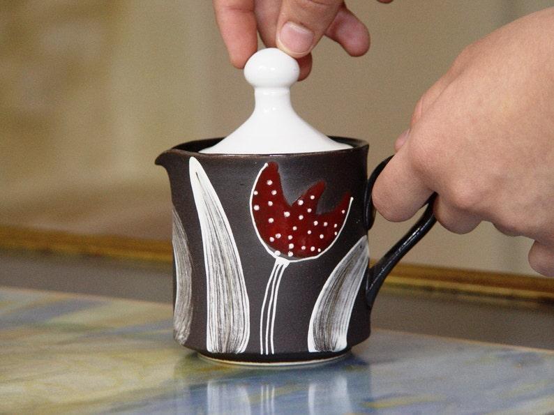 Stoneware Milk Jug Pottery Creamer Cream and Sugar Hand image 0