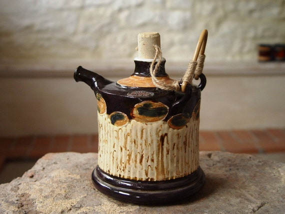 Pottery Bottle with Wicker Handle, Ceramic Pitcher, Wall Hanging Decoration, Unique Watering Can, Danko Pottery, Artistic Pottery