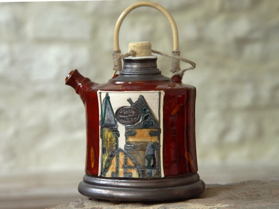 Red Pottery Pitcher with Wicker Handle, Ceramic Bottle, Wall Hanging Clay Pot, Funny Watering Can, Danko Pottery, Artistic Pottery