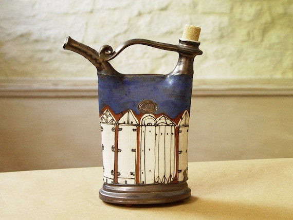 Unique Blue Ceramic Pitcher with Hand Painted Buildings. Handmade Pottery Bottle, Wheel thrown Pottery, Kitchen Decor, Danko