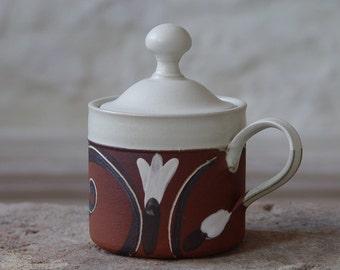 Stoneware Sugar Bowl, Pottery Sugar Container, Handmade and Hand Painted Sugar Bowl with Matte Finish, Sugar Box, Sugar Keeper