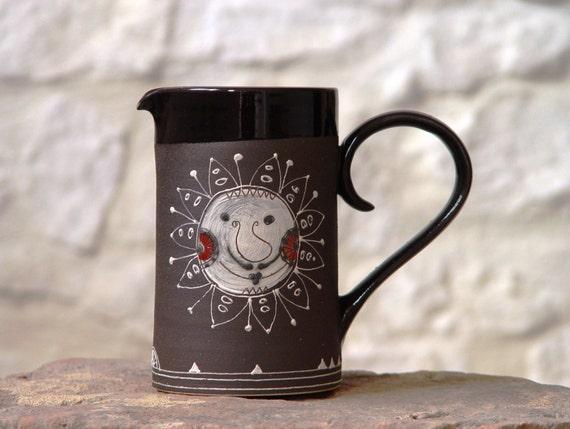 Handmade Stoneware pitcher. Water jug, Wedding gift, Handpainted Pottery pitcher, Ceramic jug, Durable stoneware jug, Danko pottery