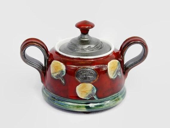 Red Pottery Sugar Bowl - Ceramic Sugar Cellar - Handmade Kitchen Canister - Sugar Basin - Clay Tea Container - Salt or Sugar Keeper - Danko