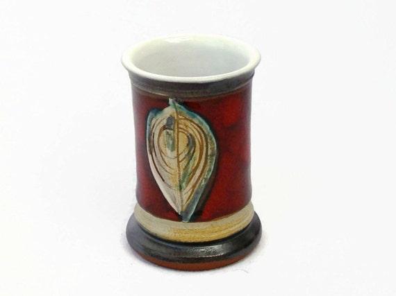 Small Ceramic Shot Mug - Red Liquor Tumbler - Pottery Gift for Dad - Handmade Souvenir - Danko - Tequila Shot - Brandy - Sake - Collectible