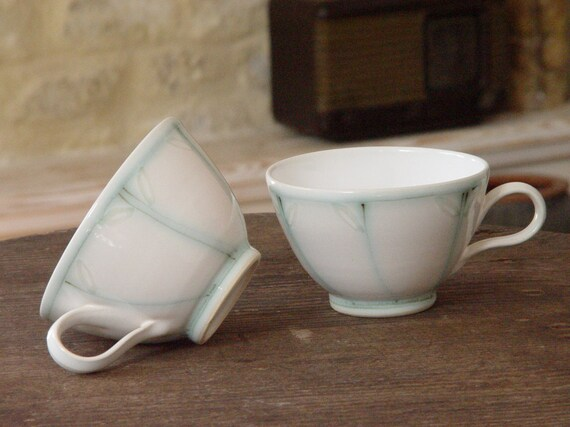 Stoneware Cups, Handmade Ceramic Tea or Coffee Cups with Handpainted Decoration, Unique Pottery, Tea sets, Wheel thrown stoneware, Danko