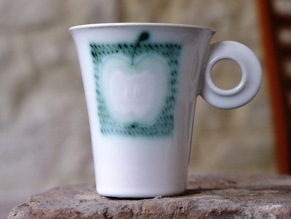 Unique Stoneware Mug - Tea or Coffee Mug - Cute Ceramic Mug - Apple Mug - Wheel Thrown Hand Painted Pottery - Ceramic Art - Danko Pottery
