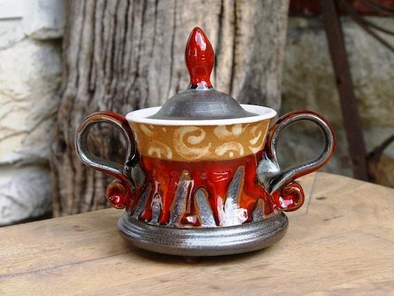 Ceramics Sugar Bowl. Lidded pottery sugar bowl, Sugar basin, Clay sugar bowl, Sugar cellar, Sugar box, Red sugar bowl, Pottery bowl