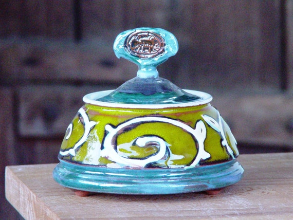 Ceramic sugar bowl. Sugar cellar. Green Pottery bowl, Sugar basin, Clay bowl, Sugar box, Colorful sugar bowl, Sugar keeper, Danko Pottery