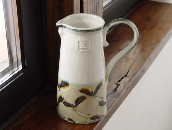 Handmade Stoneware Pitcher - Ceramic Jug with Handpainted Butterflies - Clay Art - Wheel Thrown Water Canister - Ceramic Ewer